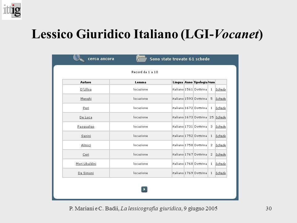 P. Mariani e C. Badii, La lessicografia giuridica, 9 giugno 200530 Lessico Giuridico Italiano (LGI-Vocanet)