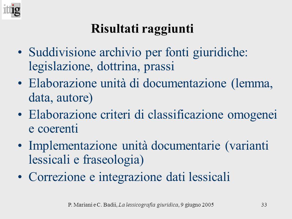 P. Mariani e C. Badii, La lessicografia giuridica, 9 giugno 200533 Risultati raggiunti Suddivisione archivio per fonti giuridiche: legislazione, dottr