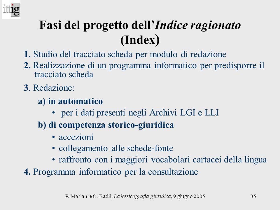 P. Mariani e C. Badii, La lessicografia giuridica, 9 giugno 200535 Fasi del progetto dellIndice ragionato (Index ) 1. Studio del tracciato scheda per
