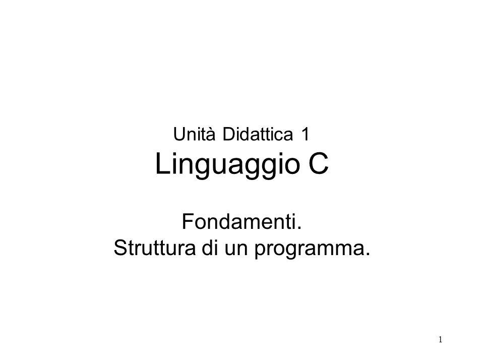 1 Unità Didattica 1 Linguaggio C Fondamenti. Struttura di un programma.