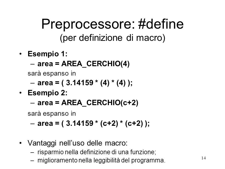 14 Preprocessore: #define (per definizione di macro) Esempio 1: –area = AREA_CERCHIO(4) sarà espanso in –area = ( 3.14159 * (4) * (4) ); Esempio 2: –a