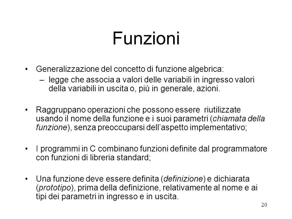 20 Funzioni Generalizzazione del concetto di funzione algebrica: –legge che associa a valori delle variabili in ingresso valori della variabili in usc