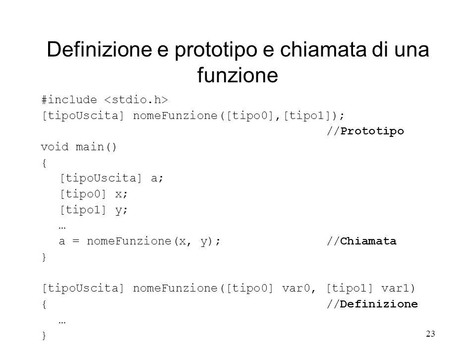 23 Definizione e prototipo e chiamata di una funzione #include [tipoUscita] nomeFunzione([tipo0],[tipo1]); //Prototipo void main() { [tipoUscita] a; [