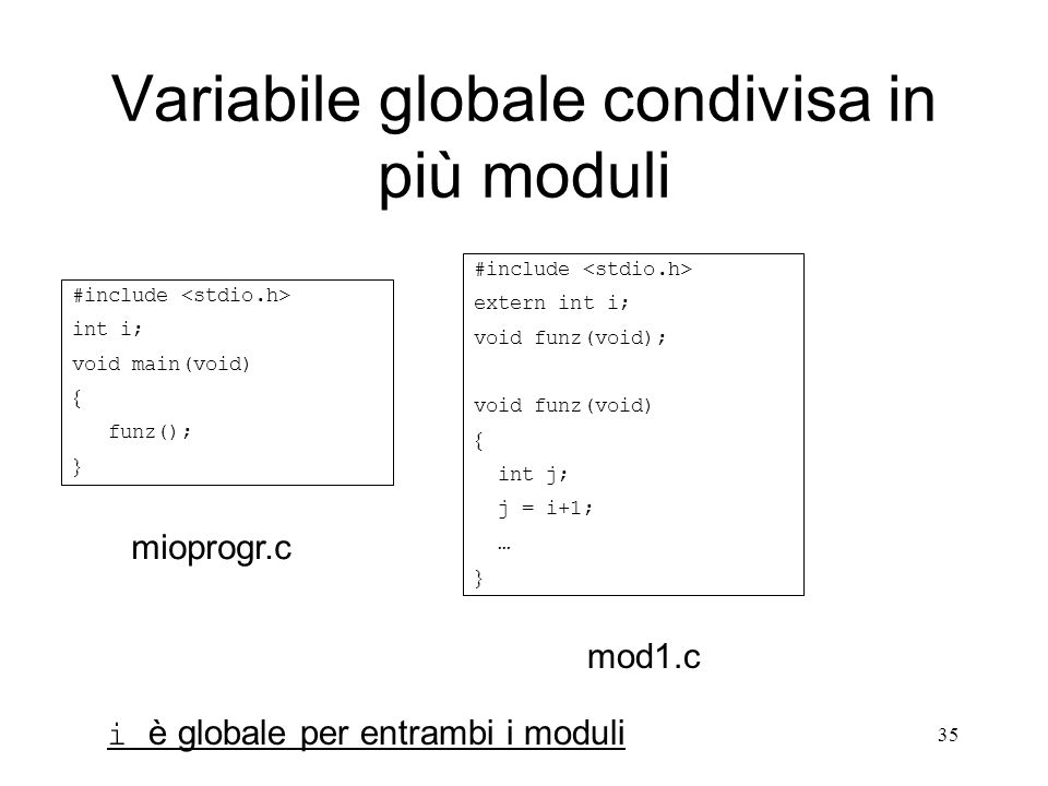 35 Variabile globale condivisa in più moduli #include int i; void main(void) funz(); #include extern int i; void funz(void); void funz(void) int j; j
