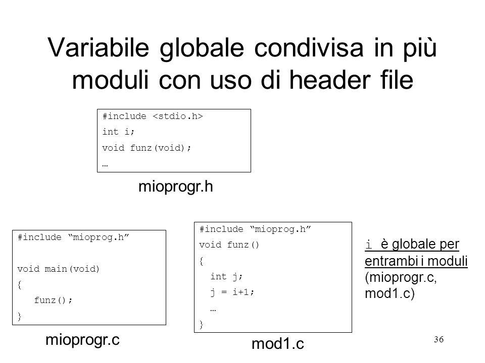 36 Variabile globale condivisa in più moduli con uso di header file #include mioprog.h void main(void) funz(); #include mioprog.h void funz() int j; j