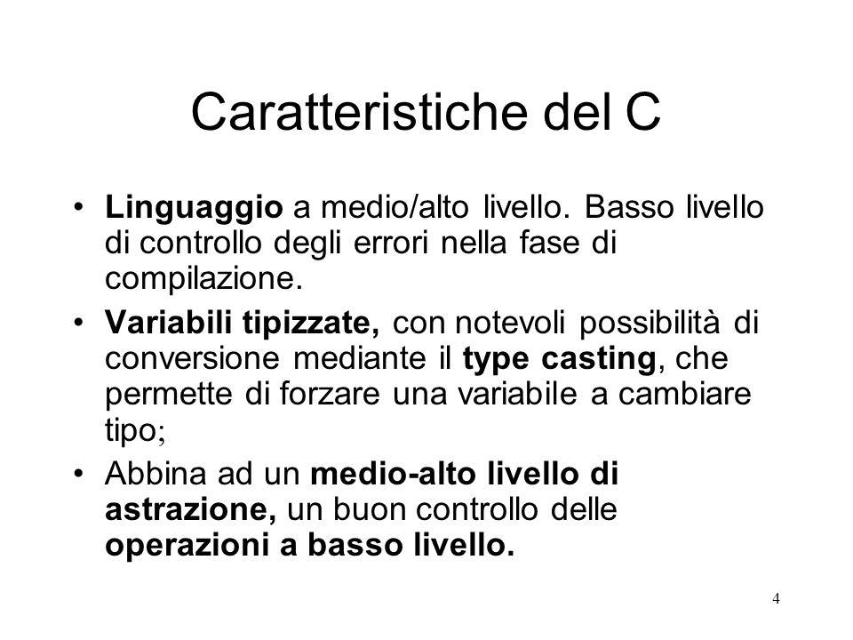 4 Caratteristiche del C Linguaggio a medio/alto livello. Basso livello di controllo degli errori nella fase di compilazione. Variabili tipizzate, con