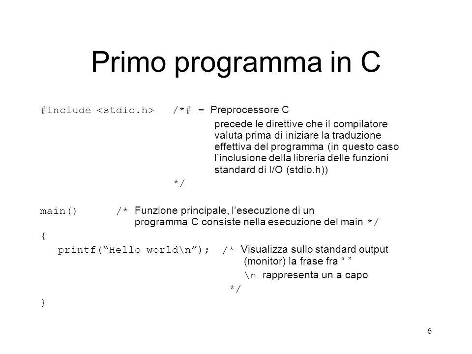 6 Primo programma in C #include /*# = Preprocessore C precede le direttive che il compilatore valuta prima di iniziare la traduzione effettiva del pro