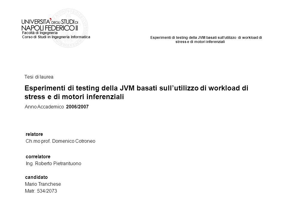 Esperimenti di testing della JVM basati sullutilizzo di workload di stress e di motori inferenziali Facoltà di Ingegneria Corso di Studi in Ingegneria Informatica Tesi di laurea relatore Ch.mo prof.