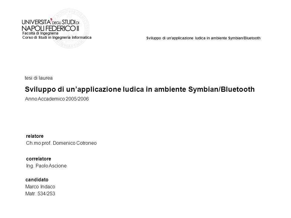 Sviluppo di unapplicazione ludica in ambiente Symbian/Bluetooth Facoltà di Ingegneria Corso di Studi in Ingegneria Informatica tesi di laurea relatore Ch.mo prof.
