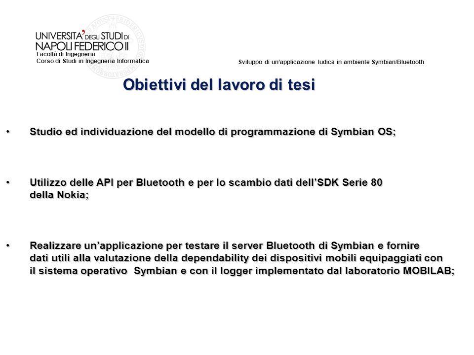 Sviluppo di unapplicazione ludica in ambiente Symbian/Bluetooth Facoltà di Ingegneria Corso di Studi in Ingegneria Informatica Obiettivi del lavoro di tesi Studio ed individuazione del modello di programmazione di Symbian OS;Studio ed individuazione del modello di programmazione di Symbian OS; Utilizzo delle API per Bluetooth e per lo scambio dati dellSDK Serie 80Utilizzo delle API per Bluetooth e per lo scambio dati dellSDK Serie 80 della Nokia; Realizzare unapplicazione per testare il server Bluetooth di Symbian e fornireRealizzare unapplicazione per testare il server Bluetooth di Symbian e fornire dati utili alla valutazione della dependability dei dispositivi mobili equipaggiati con dati utili alla valutazione della dependability dei dispositivi mobili equipaggiati con il sistema operativo Symbian e con il logger implementato dal laboratorio MOBILAB; il sistema operativo Symbian e con il logger implementato dal laboratorio MOBILAB;