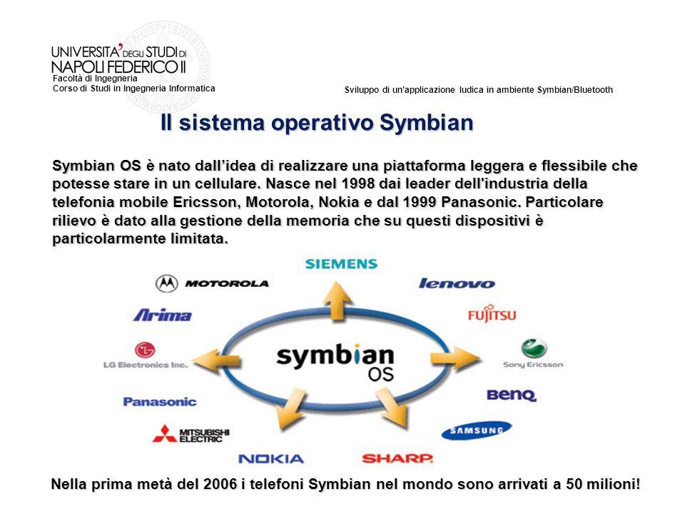 Sviluppo di unapplicazione ludica in ambiente Symbian/Bluetooth Facoltà di Ingegneria Corso di Studi in Ingegneria Informatica Symbian OS è nato dallidea di realizzare una piattaforma leggera e flessibile che potesse stare in un cellulare.