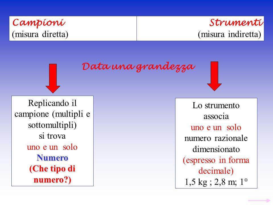 Replicando il campione (multipli e sottomultipli) si trova uno e un soloNumero (Che tipo di numero?) Lo strumento associa uno e un solo numero raziona
