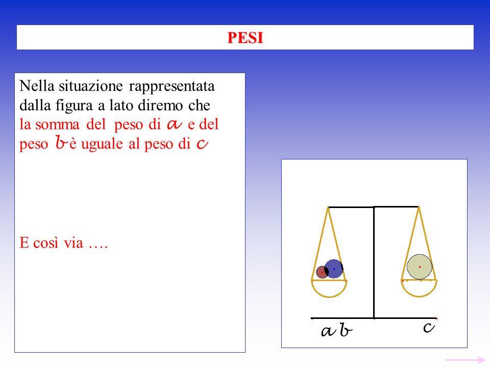 Nella situazione rappresentata dalla figura a lato diremo che la somma del peso di a e del peso b è uguale al peso di c E così via …. PESI a b c