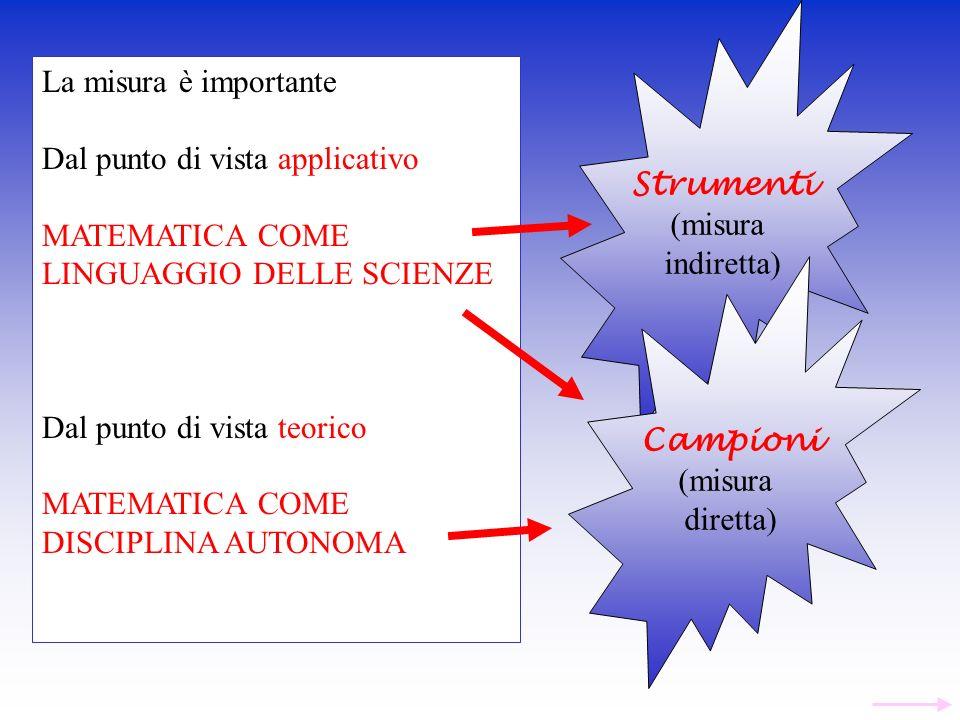 La misura è importante Dal punto di vista applicativo MATEMATICA COME LINGUAGGIO DELLE SCIENZE Dal punto di vista teorico MATEMATICA COME DISCIPLINA A