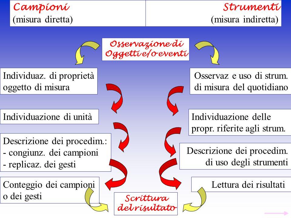 Campioni (misura diretta) Strumenti (misura indiretta) Osservazione di Oggetti e/o eventi Individuaz. di proprietà oggetto di misura Osservaz e uso di
