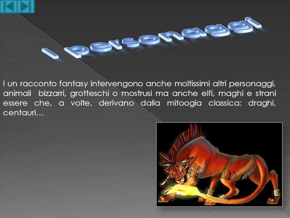 I un racconto fantasy intervengono anche moltissimi altri personaggi, animali bizzarri, grotteschi o mostrusi ma anche elfi, maghi e strani essere che
