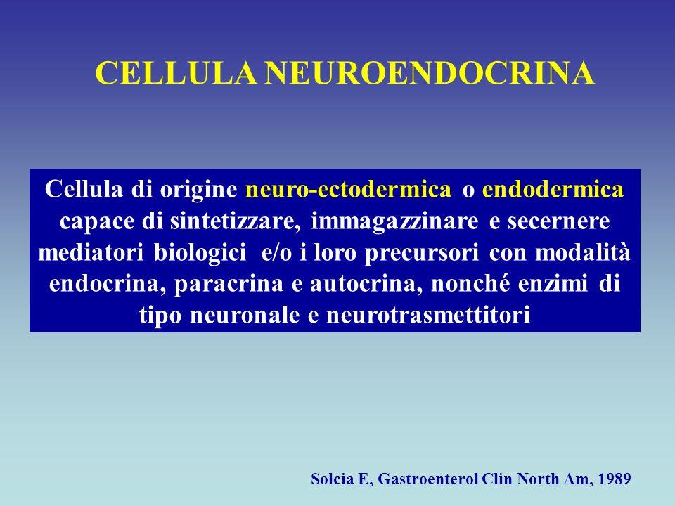 CELLULA NEUROENDOCRINA Cellula di origine neuro-ectodermica o endodermica capace di sintetizzare, immagazzinare e secernere mediatori biologici e/o i