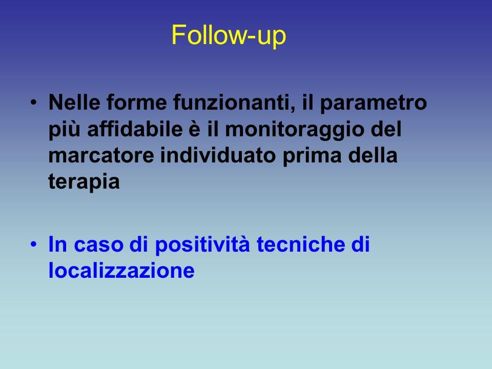 Follow-up Nelle forme funzionanti, il parametro più affidabile è il monitoraggio del marcatore individuato prima della terapia In caso di positività t