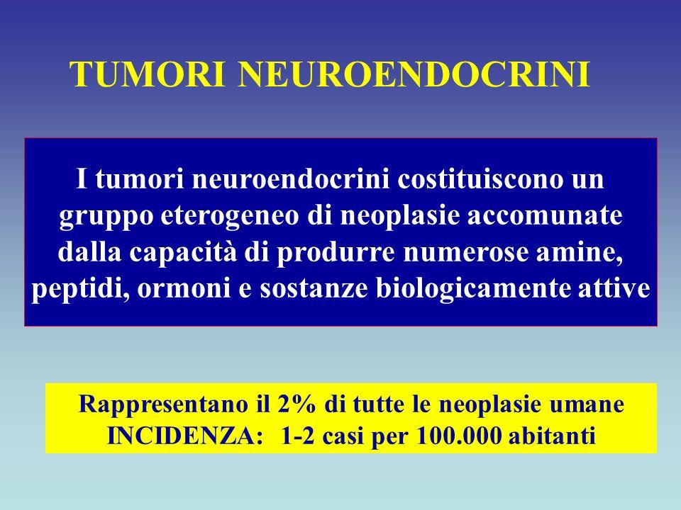I tumori neuroendocrini costituiscono un gruppo eterogeneo di neoplasie accomunate dalla capacità di produrre numerose amine, peptidi, ormoni e sostan