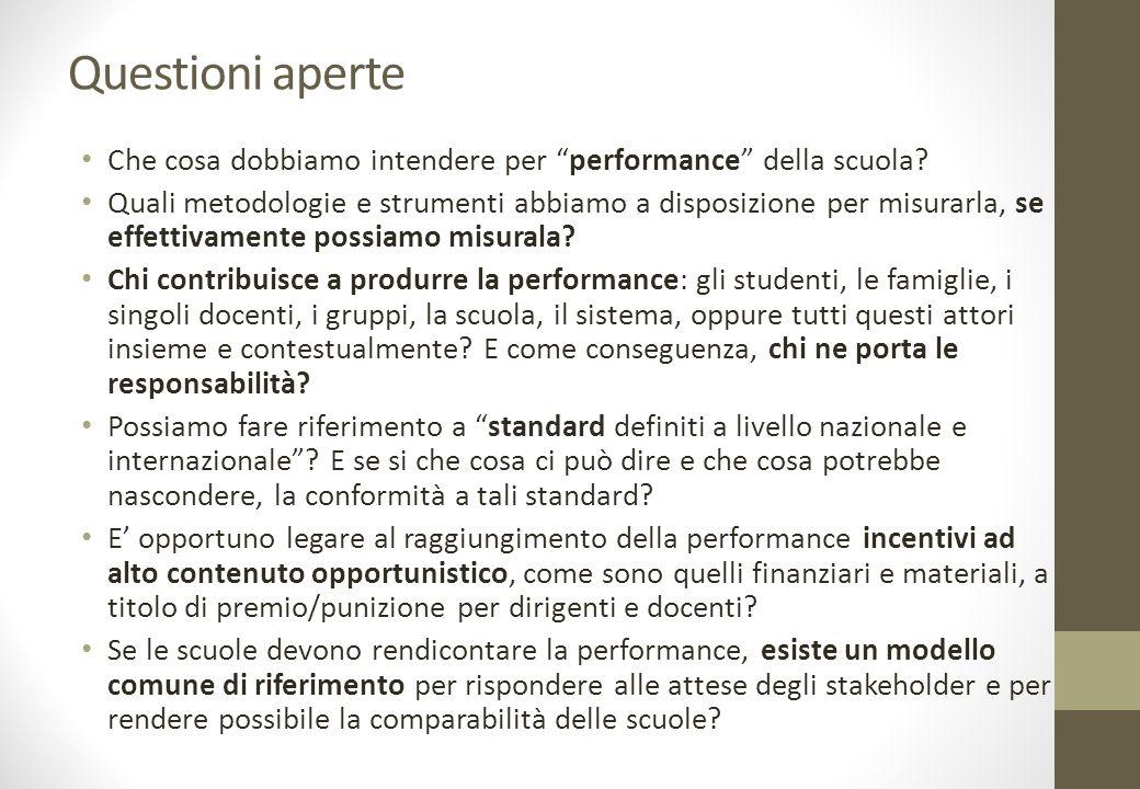 Questioni aperte Che cosa dobbiamo intendere per performance della scuola.
