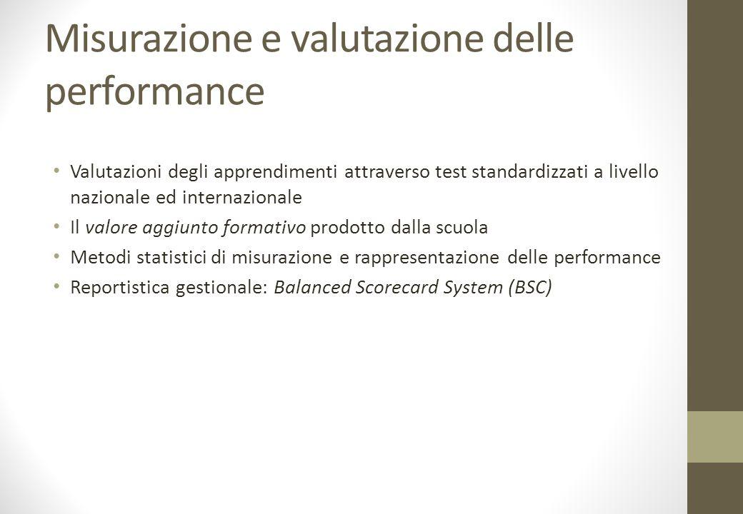 Misurazione e valutazione delle performance Valutazioni degli apprendimenti attraverso test standardizzati a livello nazionale ed internazionale Il valore aggiunto formativo prodotto dalla scuola Metodi statistici di misurazione e rappresentazione delle performance Reportistica gestionale: Balanced Scorecard System (BSC)
