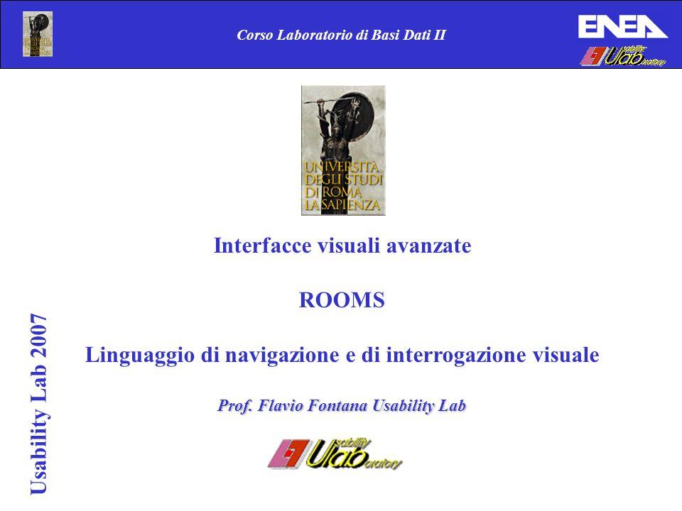 Usability Lab 2007 Corso Laboratorio di Basi Dati II Interfacce visuali avanzate ROOMS Linguaggio di navigazione e di interrogazione visuale Prof.