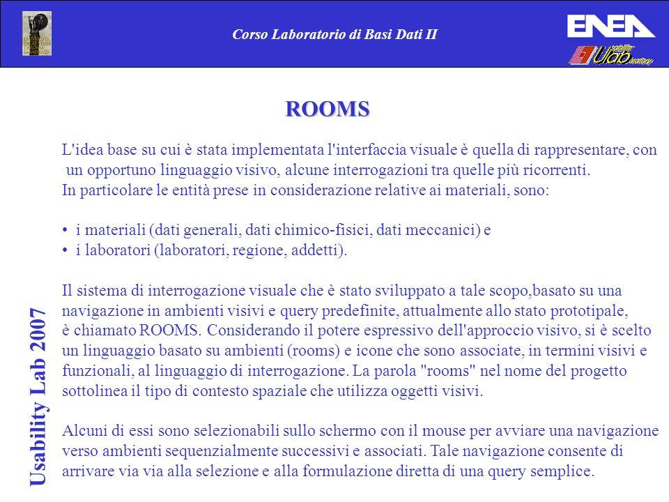 Usability Lab 2007 Corso Laboratorio di Basi Dati II ROOMS L idea base su cui è stata implementata l interfaccia visuale è quella di rappresentare, con un opportuno linguaggio visivo, alcune interrogazioni tra quelle più ricorrenti.
