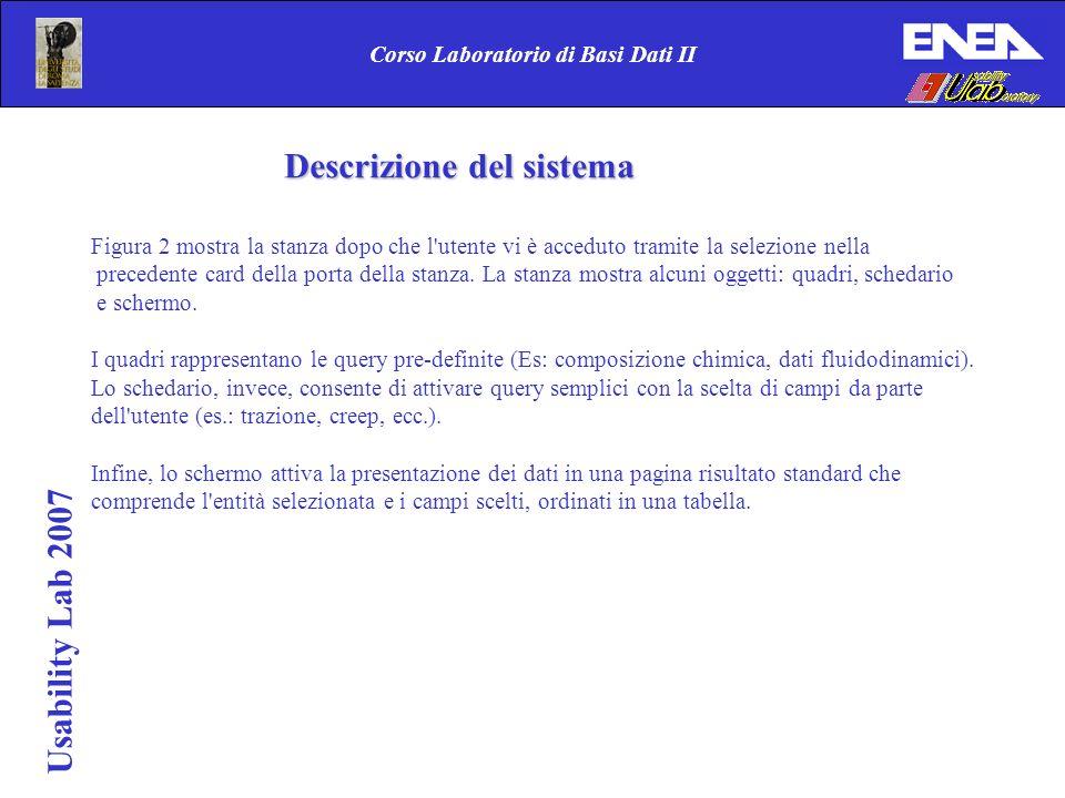 Usability Lab 2007 Corso Laboratorio di Basi Dati II Figura 2 mostra la stanza dopo che l utente vi è acceduto tramite la selezione nella precedente card della porta della stanza.