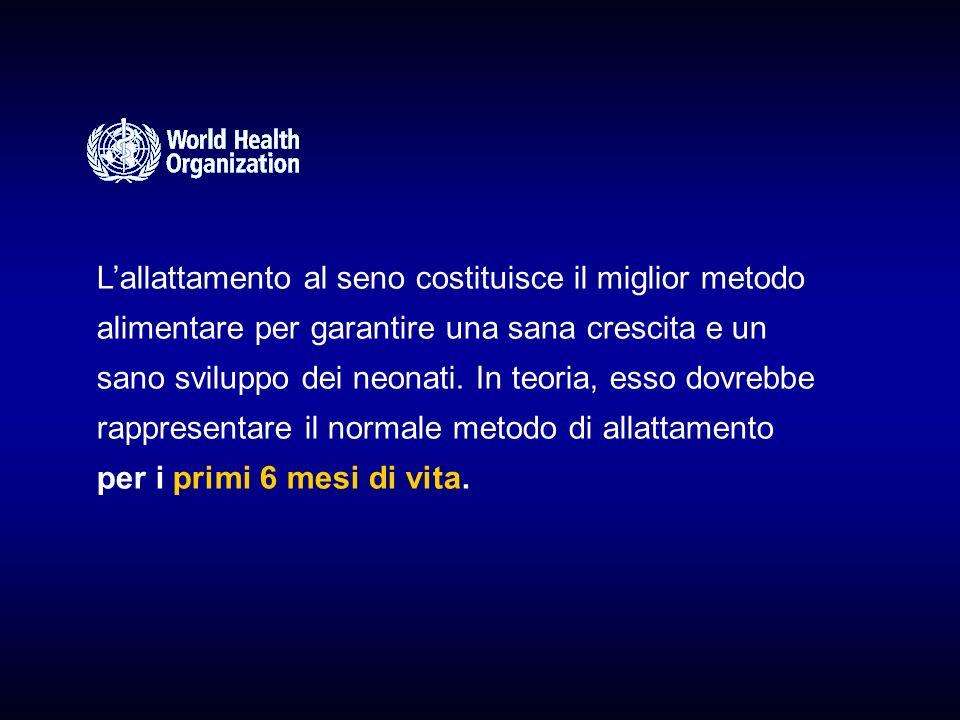 Lallattamento al seno costituisce il miglior metodo alimentare per garantire una sana crescita e un sano sviluppo dei neonati.