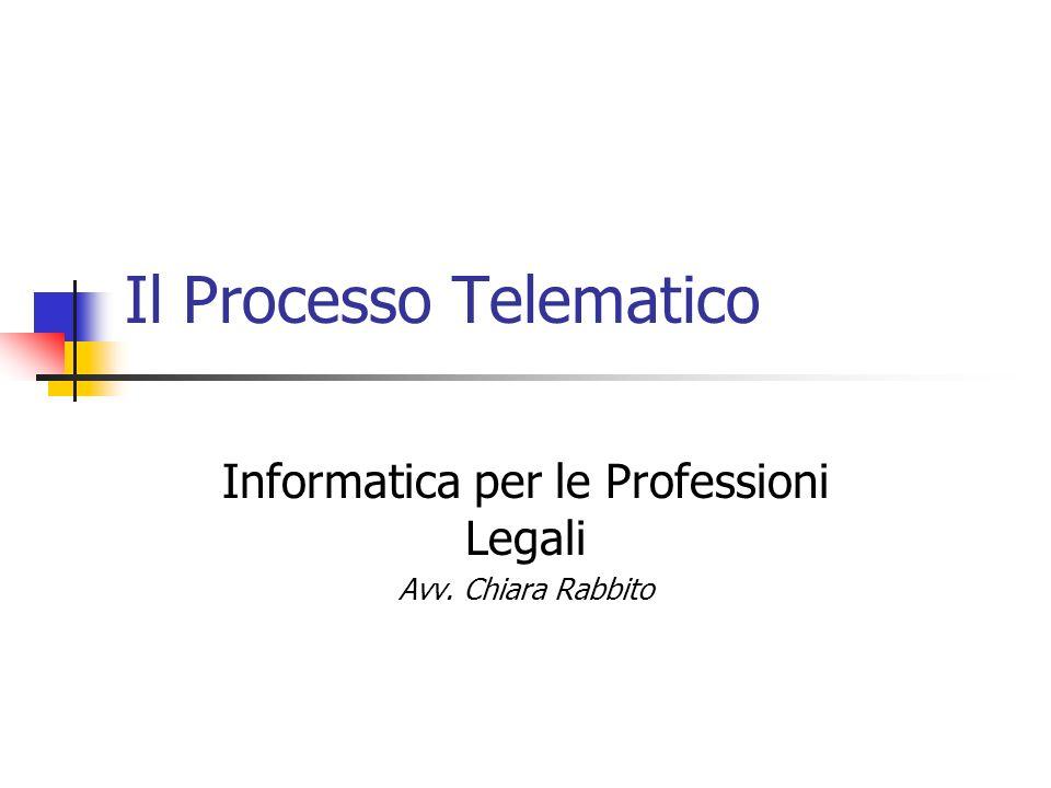 Il Processo Telematico Informatica per le Professioni Legali Avv. Chiara Rabbito