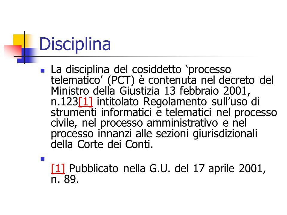 Disciplina La disciplina del cosiddetto processo telematico (PCT) è contenuta nel decreto del Ministro della Giustizia 13 febbraio 2001, n.123[1] inti