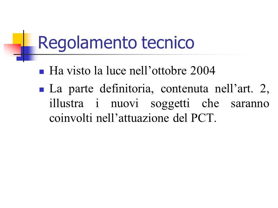 Regolamento tecnico Ha visto la luce nellottobre 2004 La parte definitoria, contenuta nellart. 2, illustra i nuovi soggetti che saranno coinvolti nell