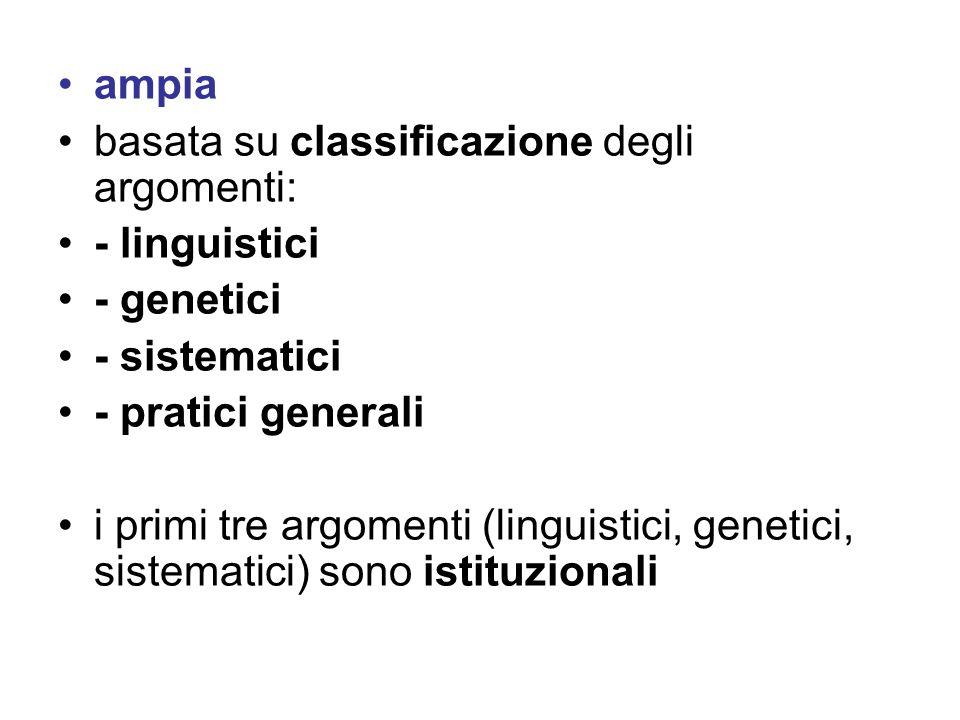 ampia basata su classificazione degli argomenti: - linguistici - genetici - sistematici - pratici generali i primi tre argomenti (linguistici, genetic