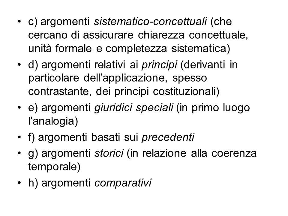 c) argomenti sistematico-concettuali (che cercano di assicurare chiarezza concettuale, unità formale e completezza sistematica) d) argomenti relativi