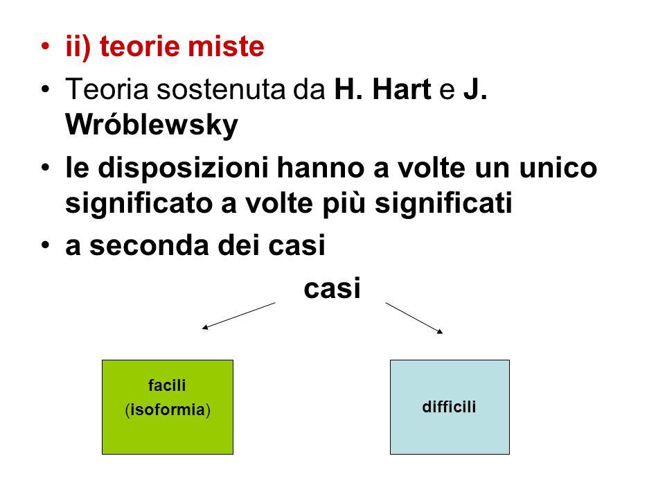 ii) teorie miste Teoria sostenuta da H. Hart e J. Wróblewsky le disposizioni hanno a volte un unico significato a volte più significati a seconda dei