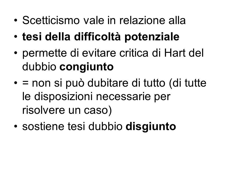 Scetticismo vale in relazione alla tesi della difficoltà potenziale permette di evitare critica di Hart del dubbio congiunto = non si può dubitare di