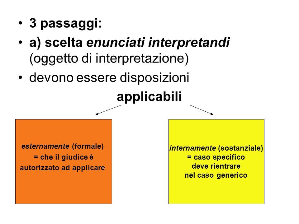 3 passaggi: a) scelta enunciati interpretandi (oggetto di interpretazione) devono essere disposizioni applicabili esternamente (formale) = che il giud