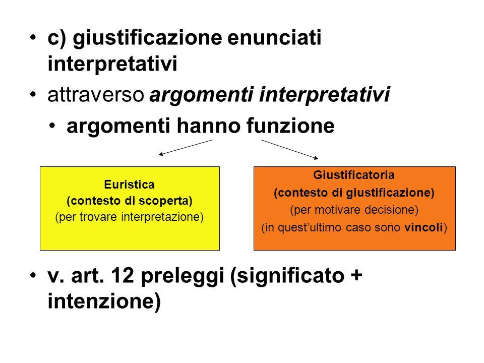 c) giustificazione enunciati interpretativi attraverso argomenti interpretativi argomenti hanno funzione v. art. 12 preleggi (significato + intenzione