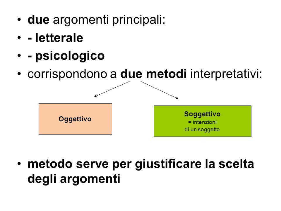due argomenti principali: - letterale - psicologico corrispondono a due metodi interpretativi: metodo serve per giustificare la scelta degli argomenti