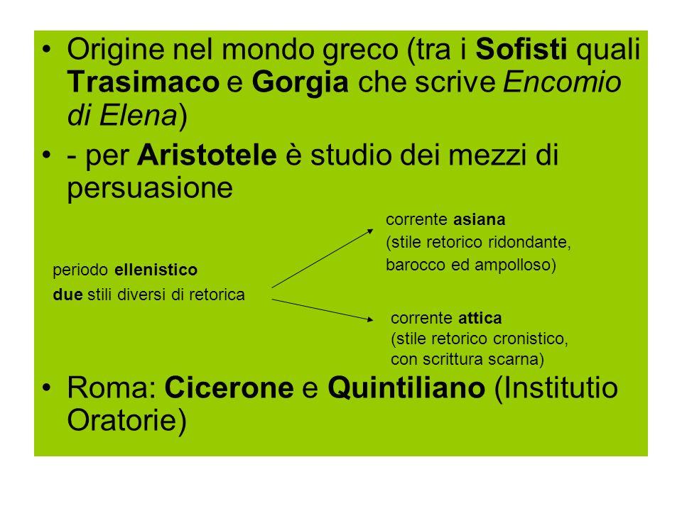 Origine nel mondo greco (tra i Sofisti quali Trasimaco e Gorgia che scrive Encomio di Elena) - per Aristotele è studio dei mezzi di persuasione Roma: