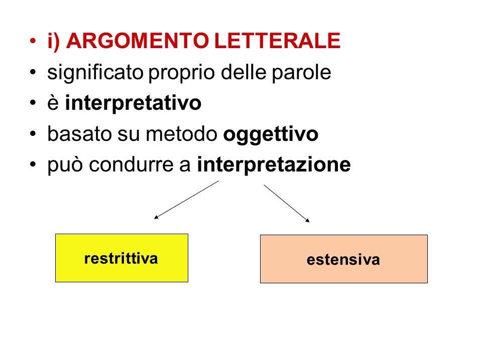 i) ARGOMENTO LETTERALE significato proprio delle parole è interpretativo basato su metodo oggettivo può condurre a interpretazione restrittiva estensi
