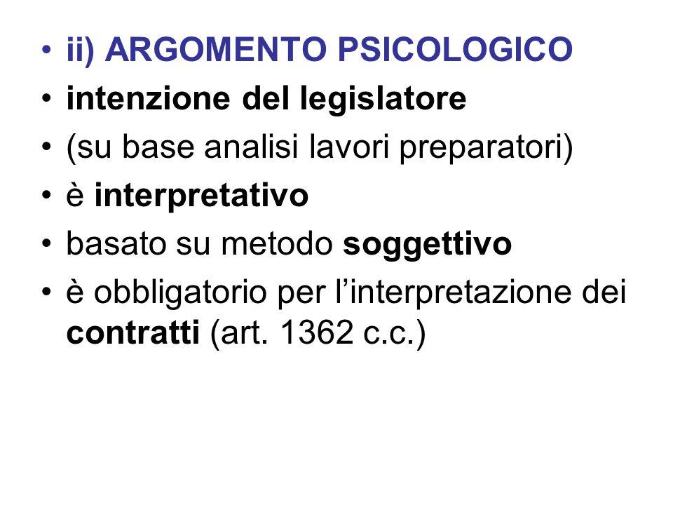 ii) ARGOMENTO PSICOLOGICO intenzione del legislatore (su base analisi lavori preparatori) è interpretativo basato su metodo soggettivo è obbligatorio