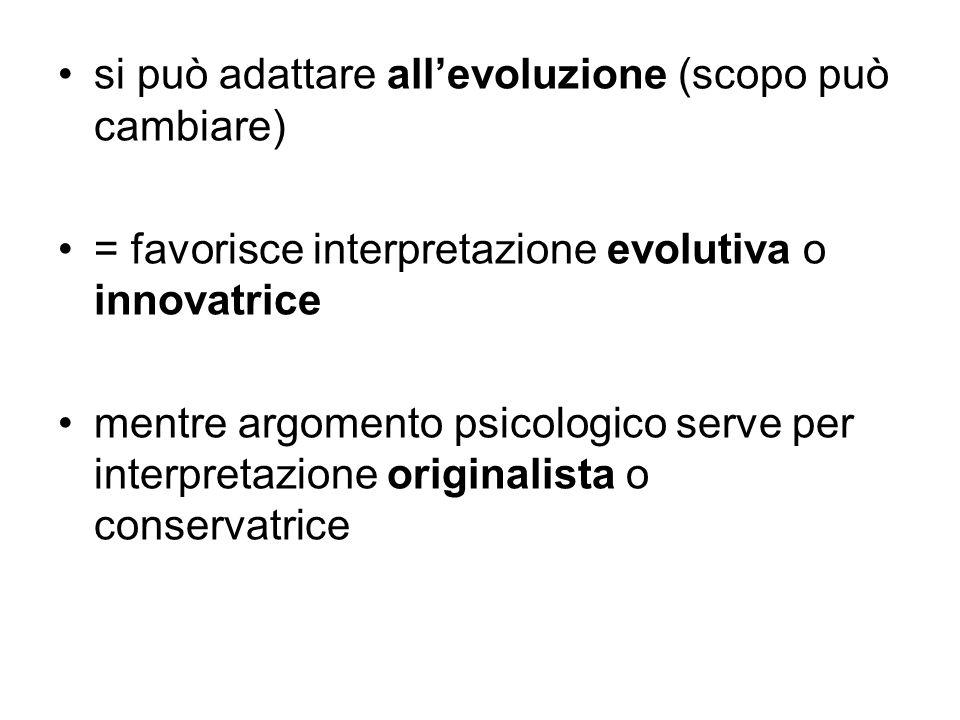 si può adattare allevoluzione (scopo può cambiare) = favorisce interpretazione evolutiva o innovatrice mentre argomento psicologico serve per interpre