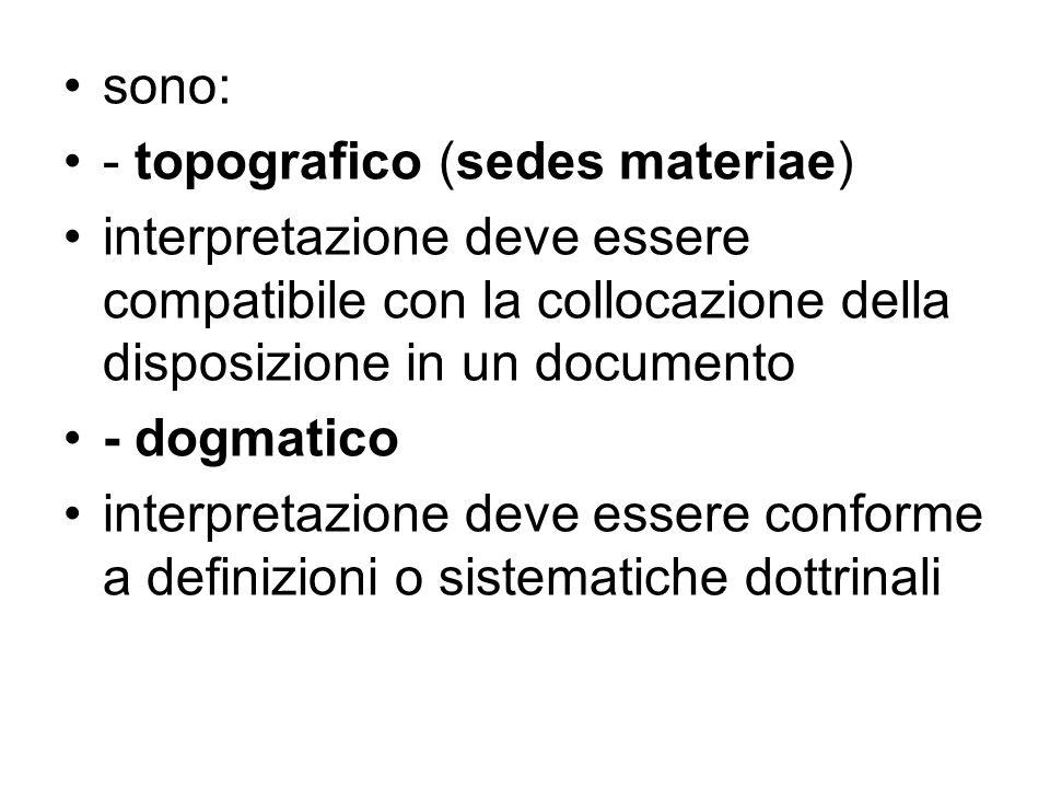 sono: - topografico (sedes materiae) interpretazione deve essere compatibile con la collocazione della disposizione in un documento - dogmatico interp