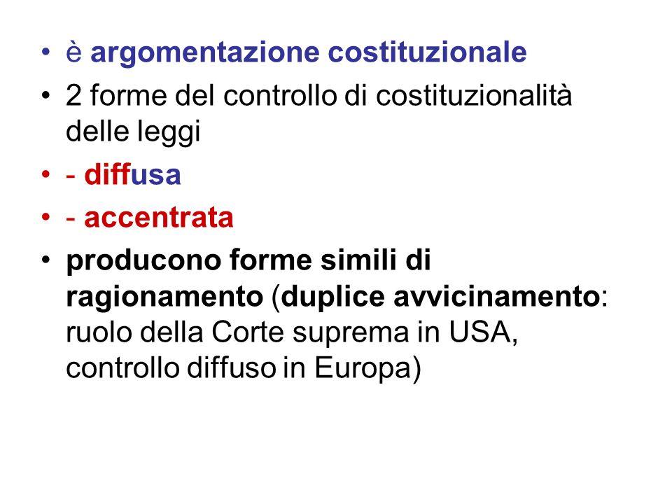 è argomentazione costituzionale 2 forme del controllo di costituzionalità delle leggi - diffusa - accentrata producono forme simili di ragionamento (d