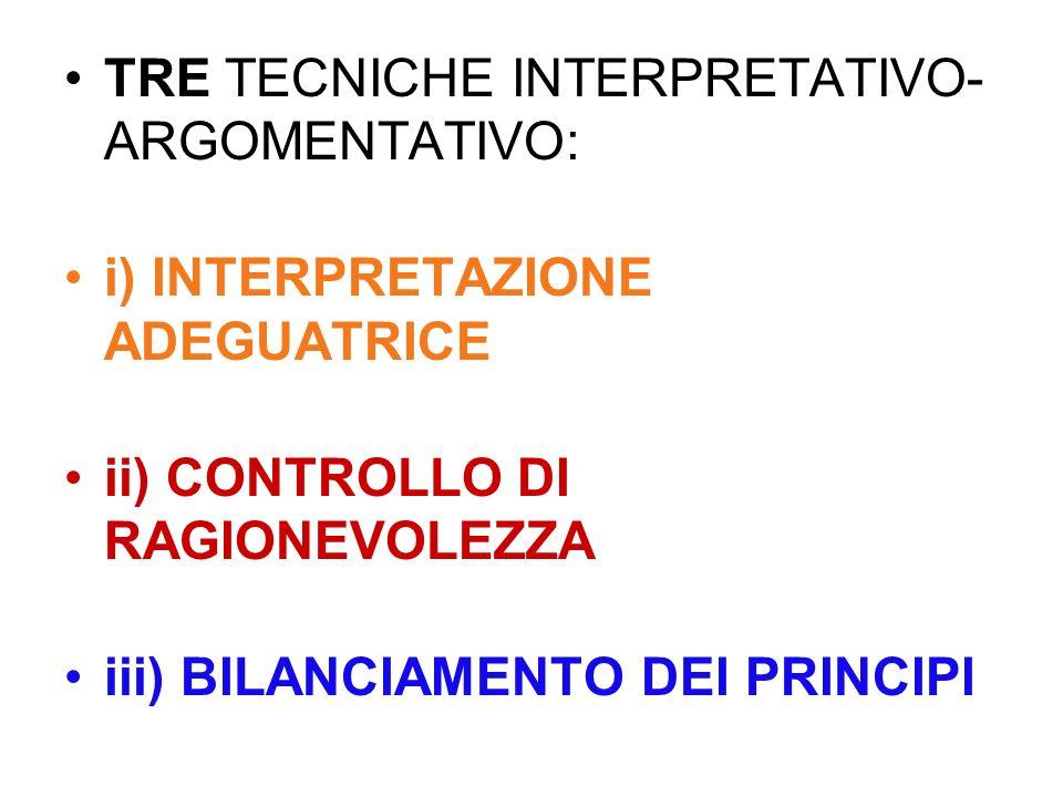 TRE TECNICHE INTERPRETATIVO- ARGOMENTATIVO: i) INTERPRETAZIONE ADEGUATRICE ii) CONTROLLO DI RAGIONEVOLEZZA iii) BILANCIAMENTO DEI PRINCIPI