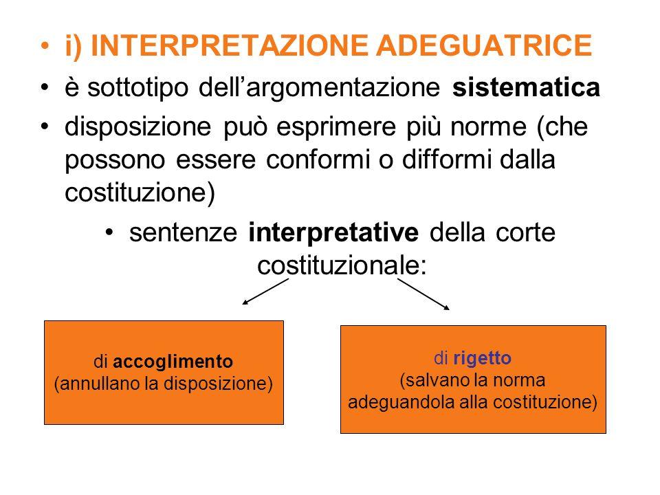 i) INTERPRETAZIONE ADEGUATRICE è sottotipo dellargomentazione sistematica disposizione può esprimere più norme (che possono essere conformi o difformi