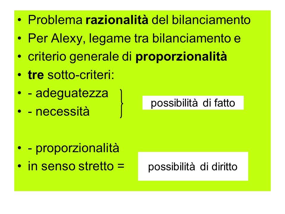 Problema razionalità del bilanciamento Per Alexy, legame tra bilanciamento e criterio generale di proporzionalità tre sotto-criteri: - adeguatezza - n