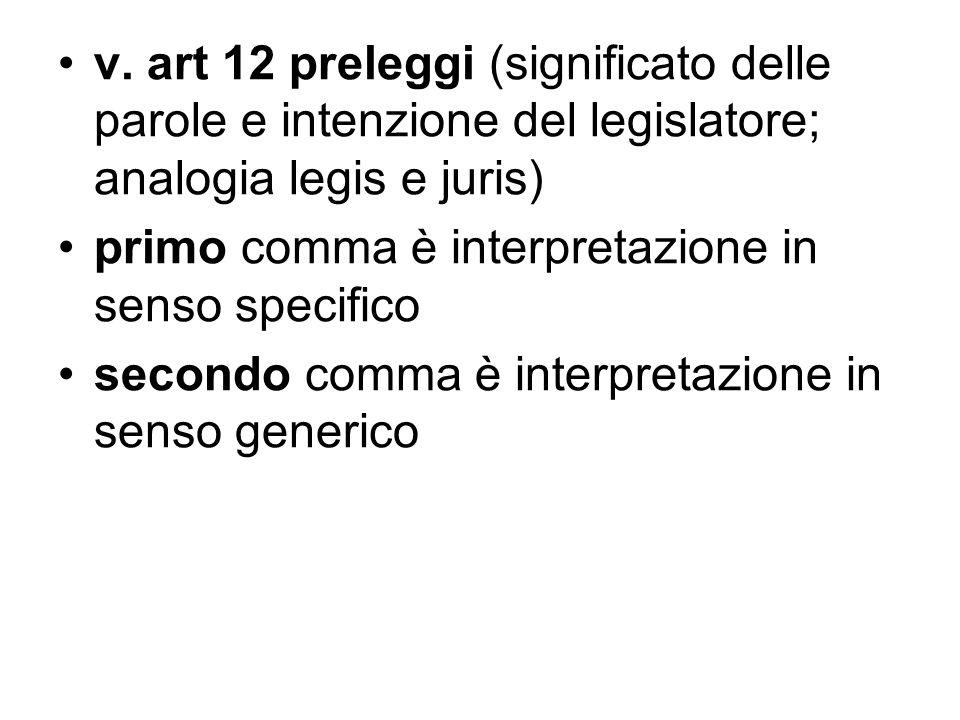 v. art 12 preleggi (significato delle parole e intenzione del legislatore; analogia legis e juris) primo comma è interpretazione in senso specifico se