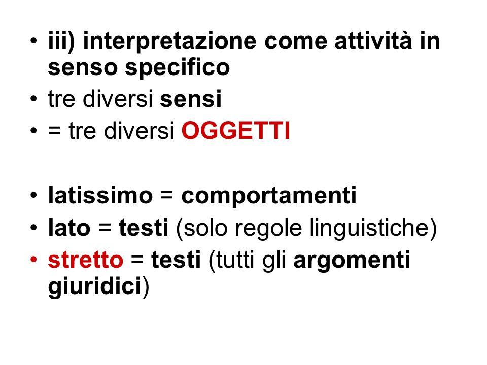 iii) interpretazione come attività in senso specifico tre diversi sensi = tre diversi OGGETTI latissimo = comportamenti lato = testi (solo regole ling